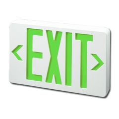 EXITRONIX LED EXIT SIGN WHITE W/GREEN LETTERS - AC ONLY