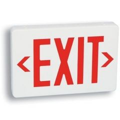 EXITRONIX LED EXIT SIGN WHITE W/RED LETTERS - AC ONLY
